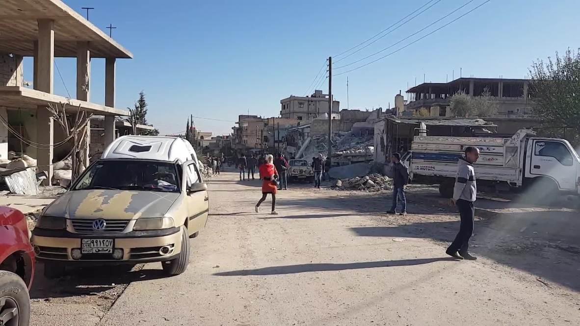 سوريا: آثار الدمار جراء الضربة الجوية الإسرائيلية في بلدة بيت سابر قرب دمشق