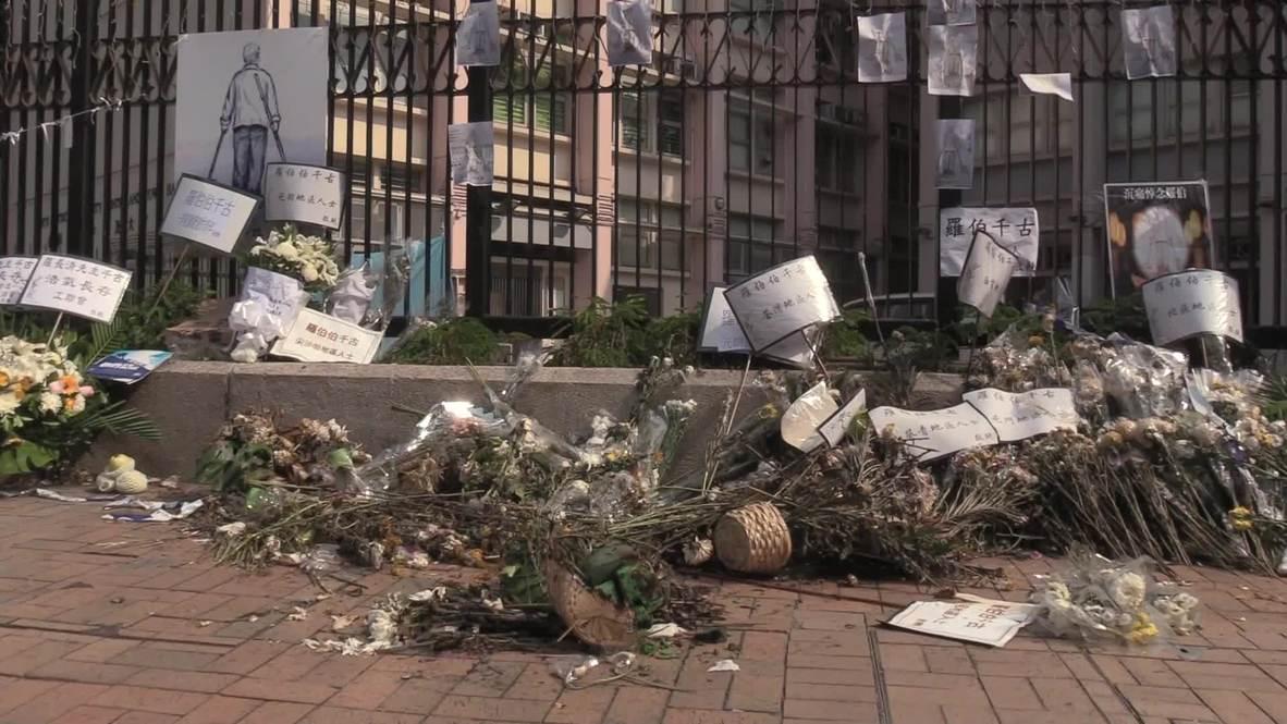 Hong Kong: Memorial de hombre fallecido durante disturbios sufre actos de vandalismo