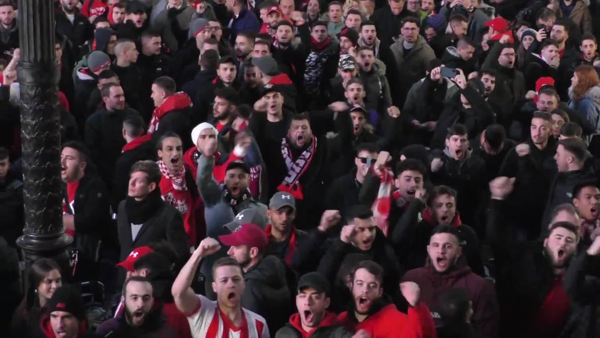 UK: Olympiacos fans rock London ahead of UCL clash against Tottenham