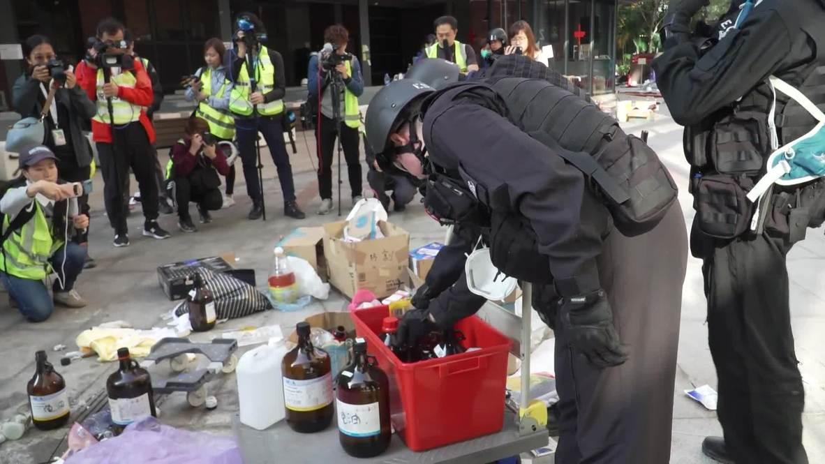 Hong Kong: La policía entra en la Universidad Politécnica en busca de artefactos peligrosos