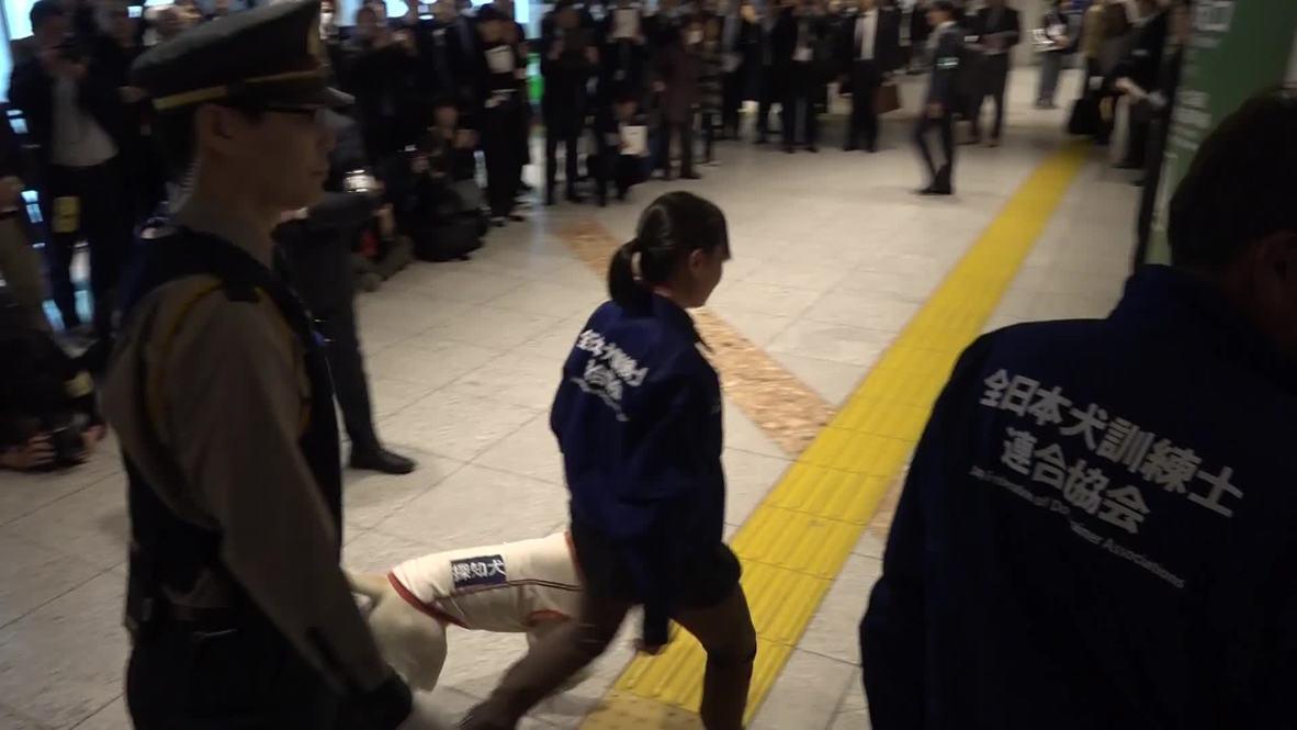 Japón: Perros policía patrullan la estación de Tokio en un simulacro previo a los Juegos Olímpicos