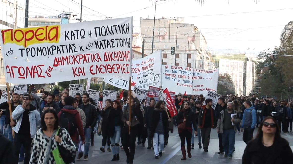 Grecia: Estudiantes marchan en el aniversario del asesinato de un adolescente a manos de la policía