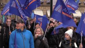 Francia: Sindicatos policiales protestan contra la reforma de las pensiones en París