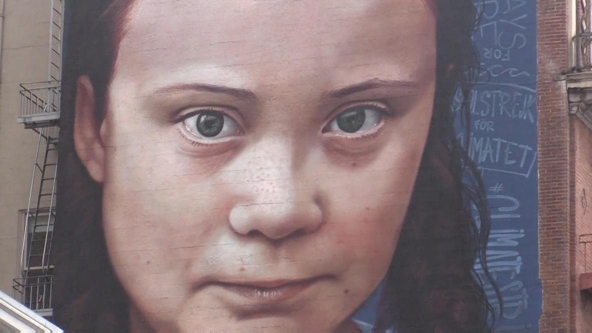 EE.UU.: Pintan un mural gigante de Greta Thunberg en el centro de San Francisco