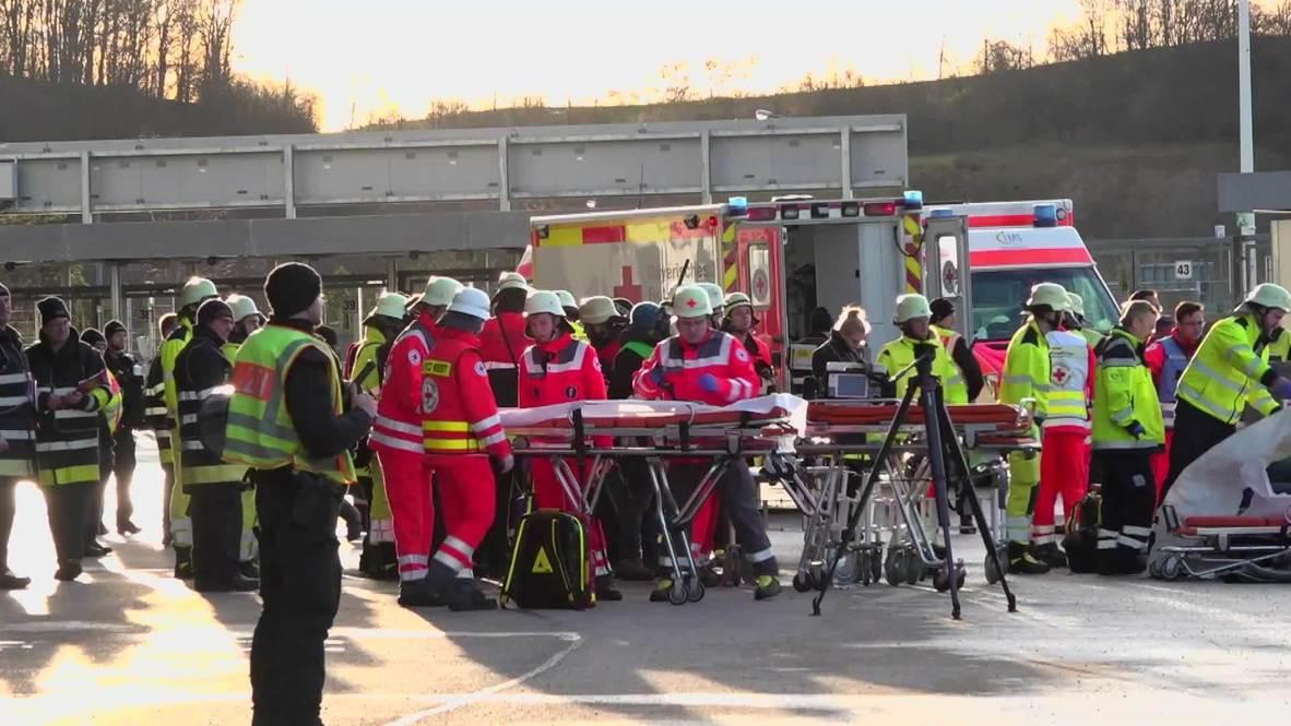 Alemania: Servicios de emergencia realizan un simulacro en el Allianz Arena de Munich antes del Euro 2020