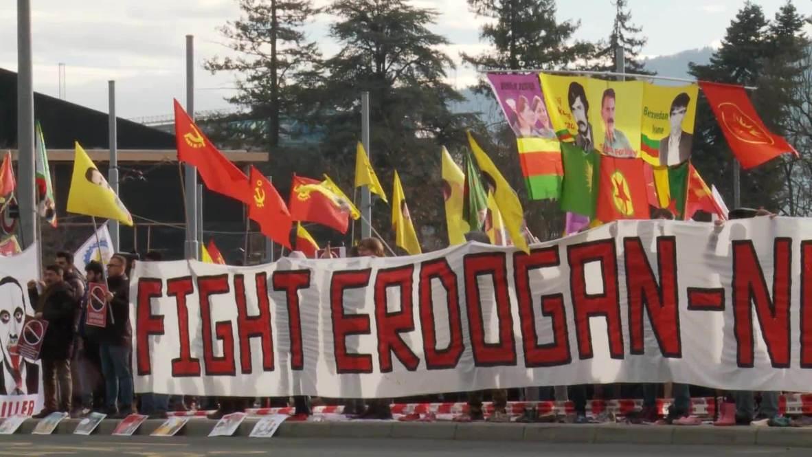Switzerland: Dozens protest Erdogan's participation in UN refugee forum