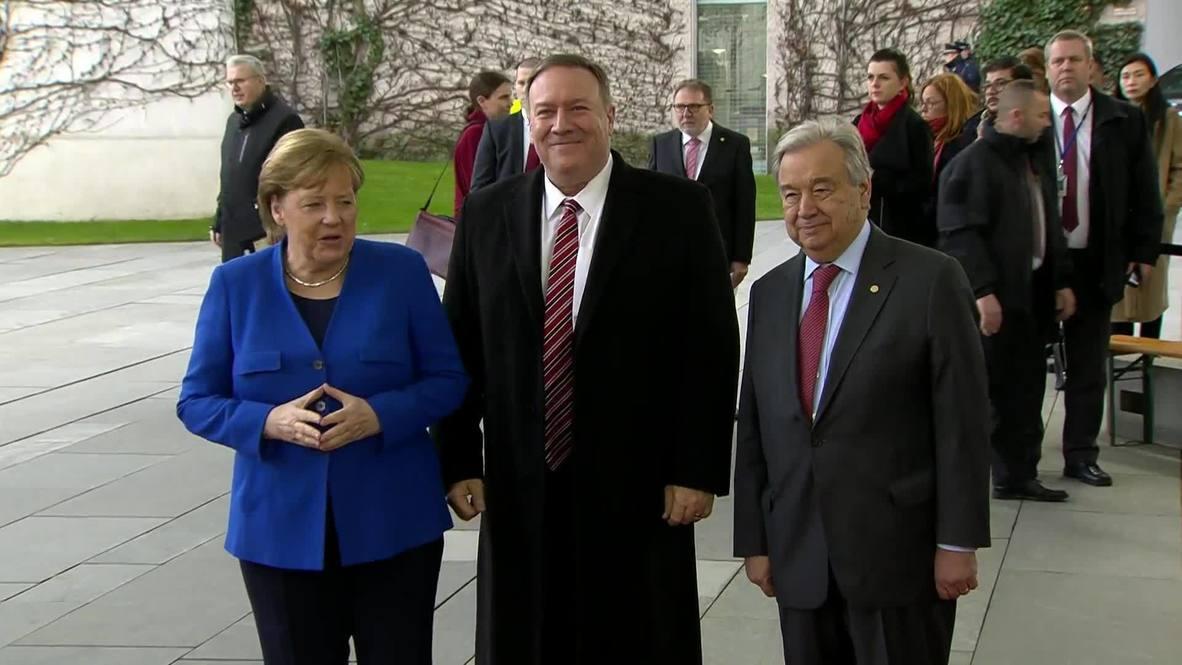 Alemania: Merkel y Guterres saludan a Pompeo en el comienzo de la conferencia sobre Libia