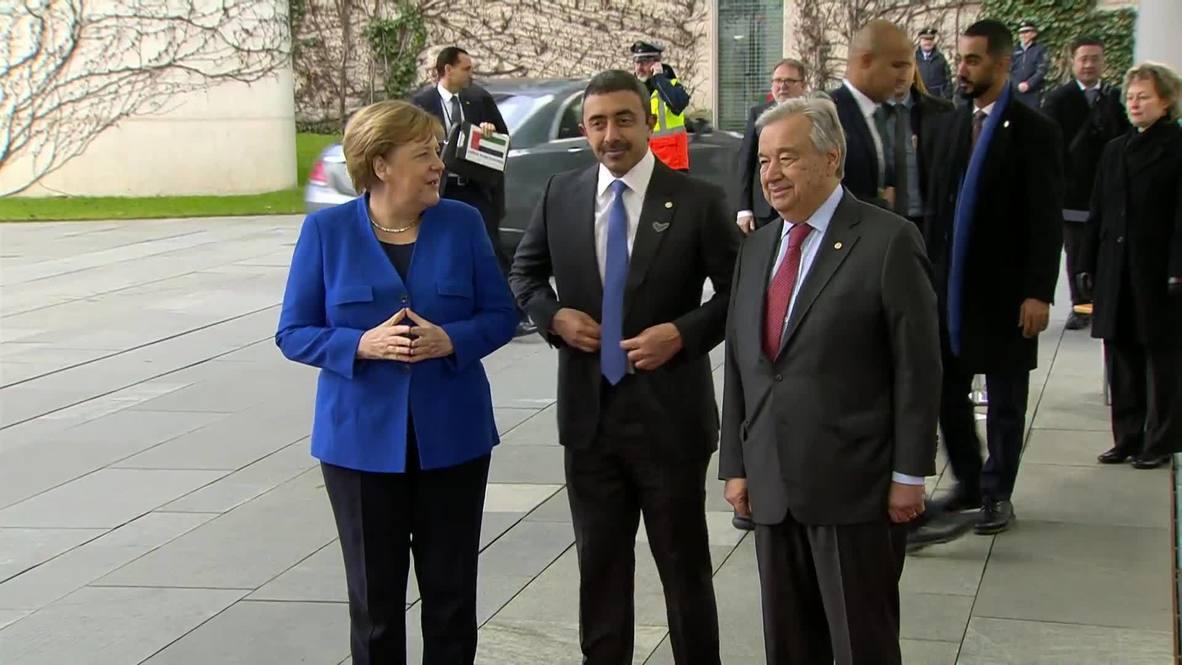 ألمانيا: ميركل وغوتيريش يستقبلان وزير الخارجية الإماراتي قبيل انطلاق مؤتمر برلين بشأن ليبيا