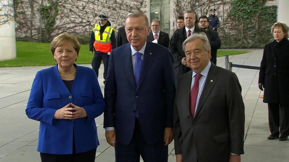 ألمانيا: ميركل وغوتيريش يستقبلان أردوغان قبيل انطلاق مؤتمر برلين بشأن ليبيا