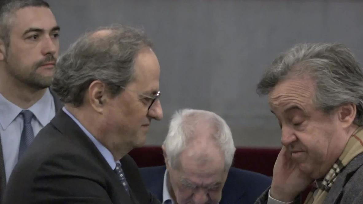 Spain: Jailed Catalan Politicians appear at Catalan Parliament