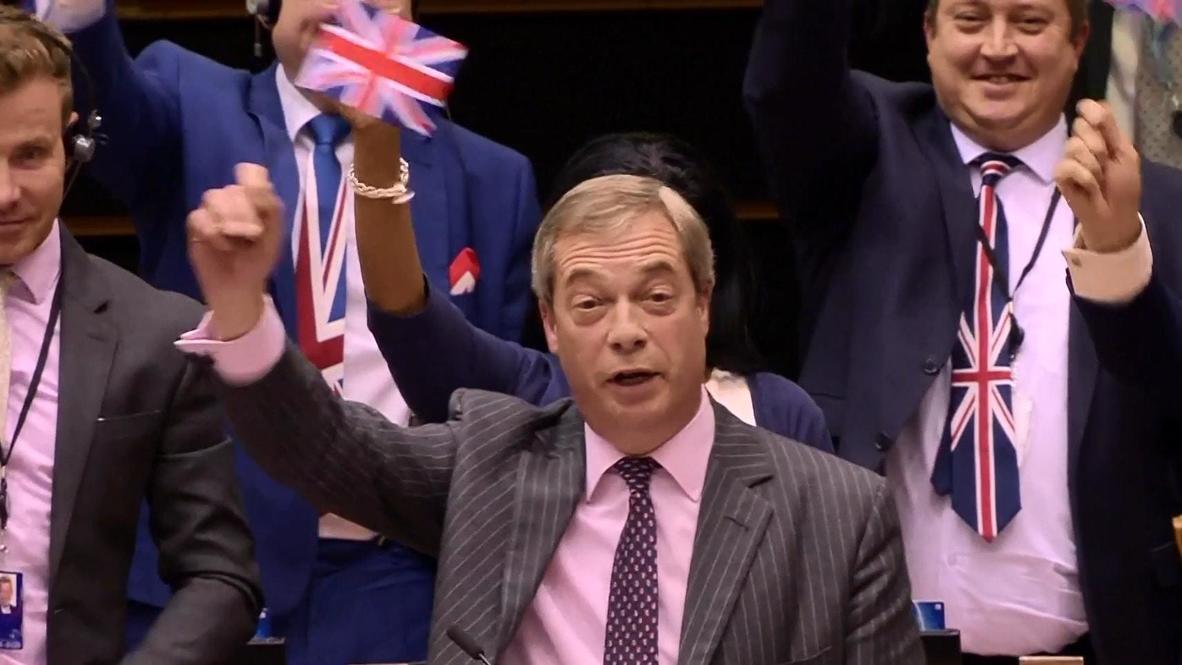 Belgium: Farage's microphone cut off as he waves UK flag in last EU speech