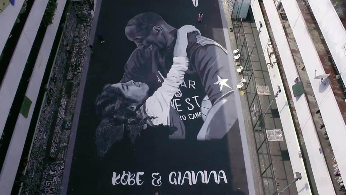 Filipinas: Admiradores de Kobe Bryant pintan un gran mural en homenaje al fallecido deportista