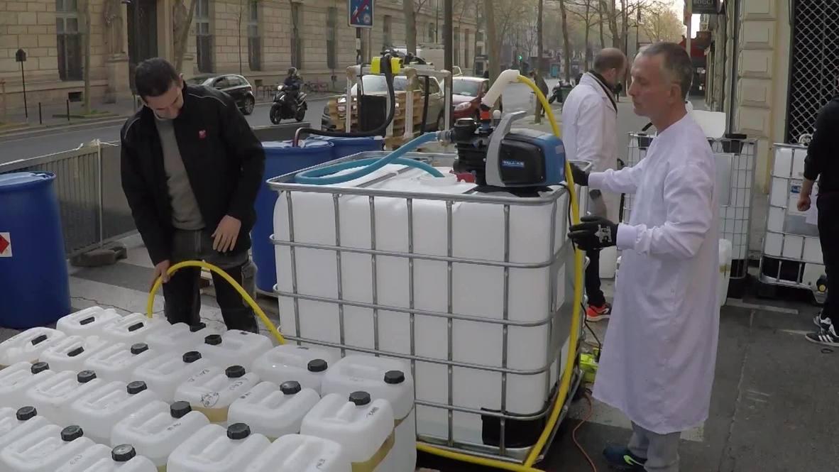 France: Paris pharmacy produces sanitiser in street to meet coronavirus demand