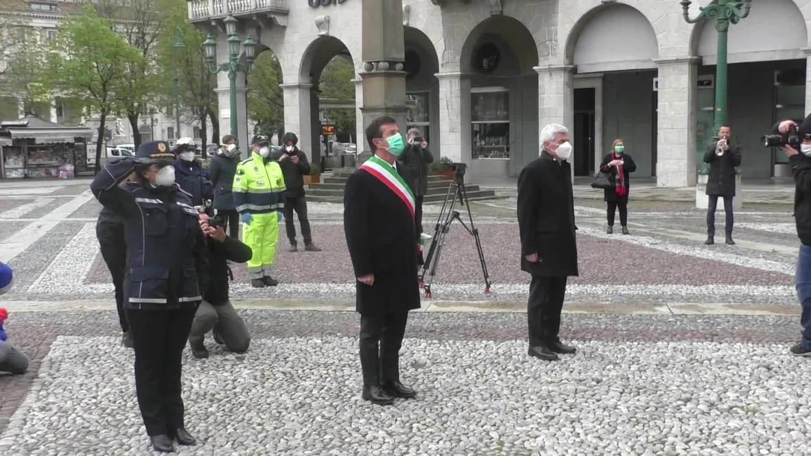 Italia: El alcalde de Bérgamo guarda un minuto de silencio por las víctimas del coronavirus