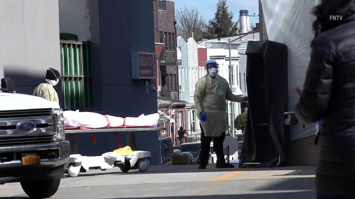 USA: Body loaded into refrigerated truck near NYC hospital as coronavirus death toll rises