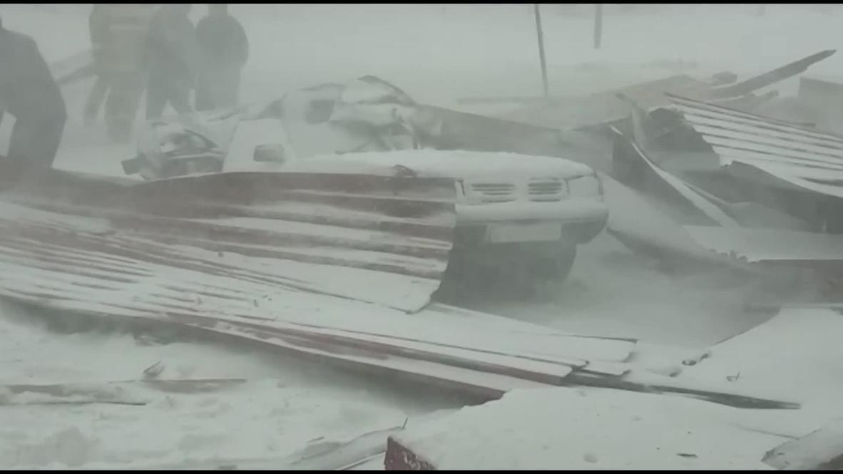 Russia: Severe blizzard rattles through Kurgan region