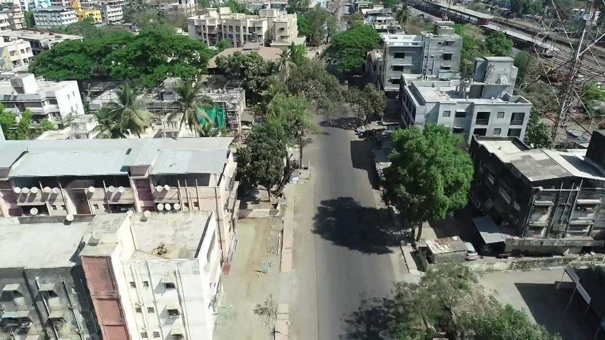 India: Las calles de Boisar se encuentran desiertas debido a la cuarentena nacional por COVID-19