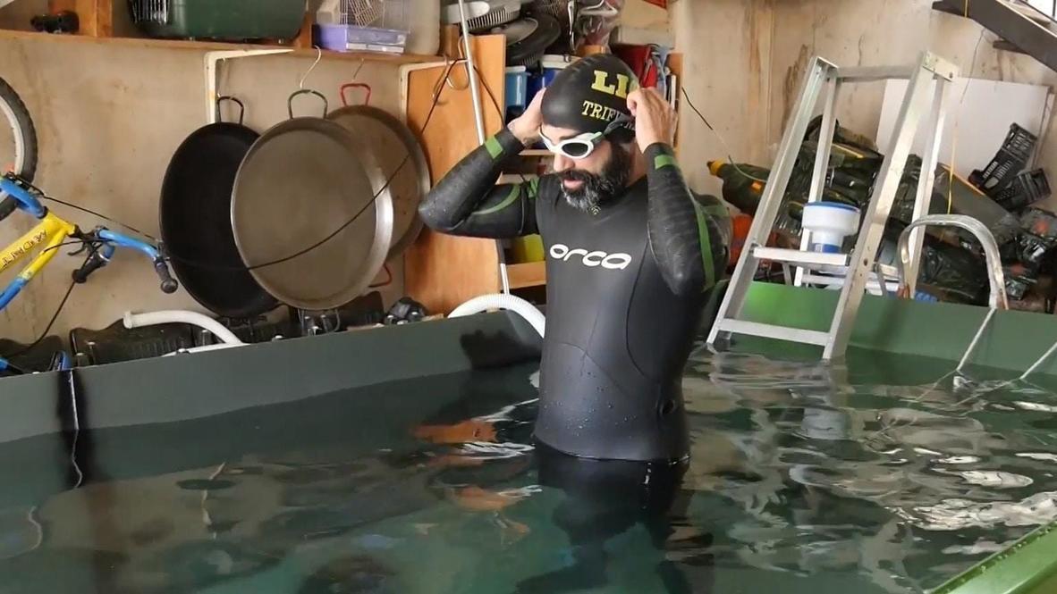 Испания: Триатлет превратил строительный контейнер в бассейн для тренировок