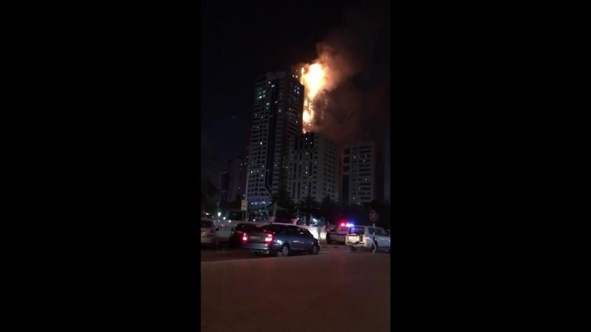 EAU: Al menos 12 heridos en un incendio en una torre residencial en Sharjah