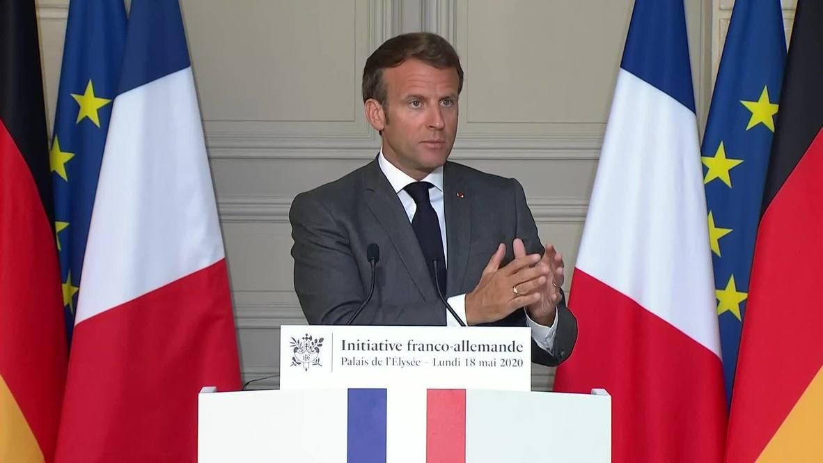"""Alemania: Francia y Alemania unidas """"por primera vez"""" en la creación del fondo de recuperación de la UE - Macron"""
