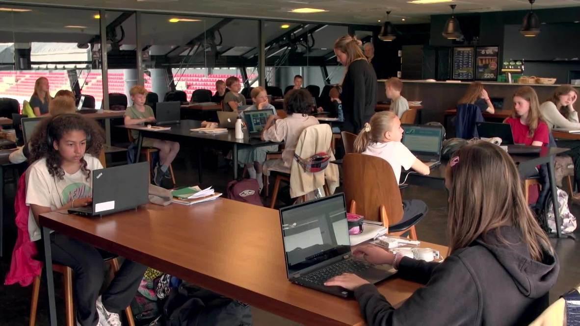 Denmark: Students attend classes at stadium-turned-classroom in Copenhagen