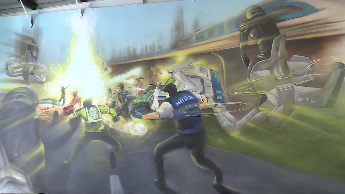 Emiratos Árabes Unidos: Elaboran murales con obras de arte realizadas durante el confinamiento