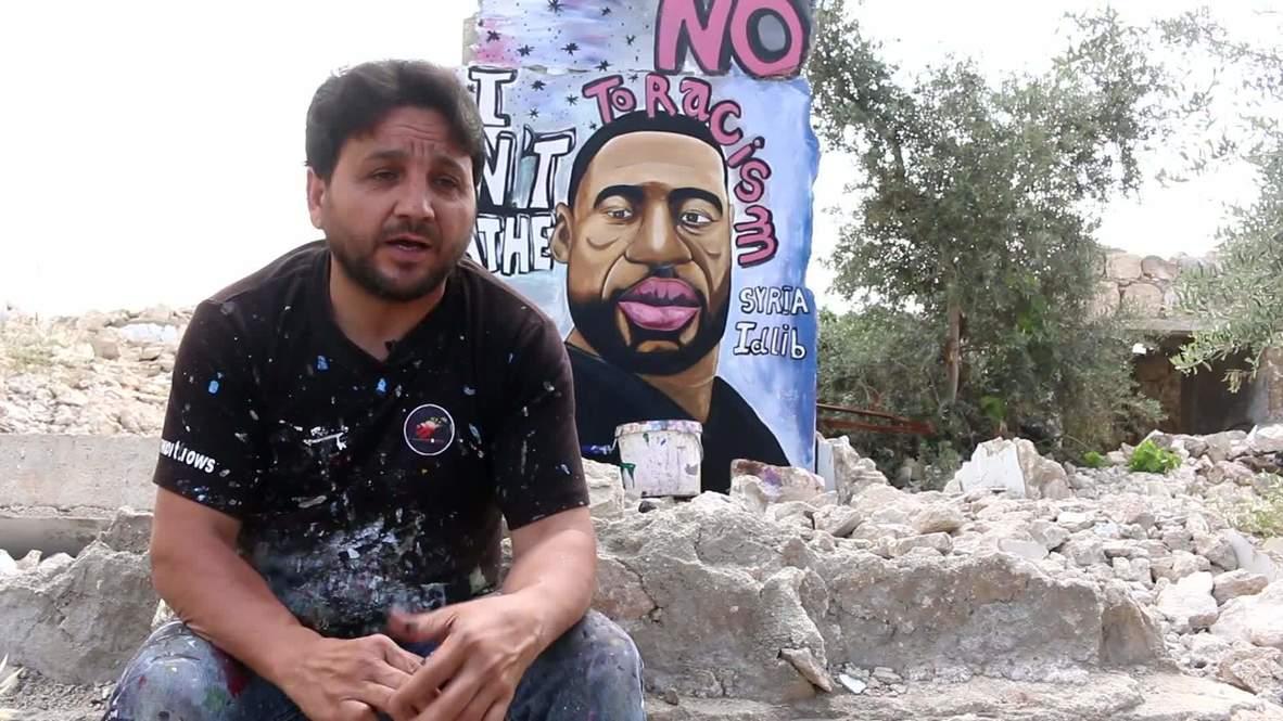Siria: Pintan un mural de George Floyd en una ciudad bombardeada de la provincia de Idlib