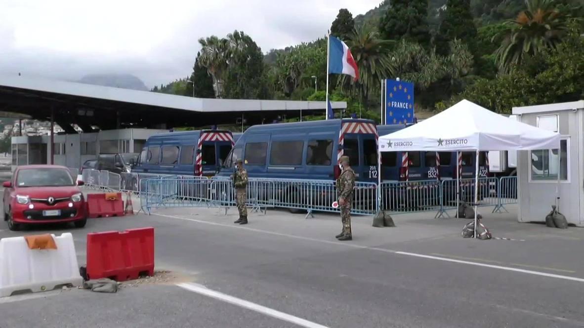Italia: Vehículos entran al país desde Francia tras la reapertura de las fronteras para visitantes de la UE
