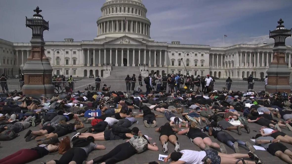 США: Сотни людей протестуют против жестокости полиции на Капитолийском холме