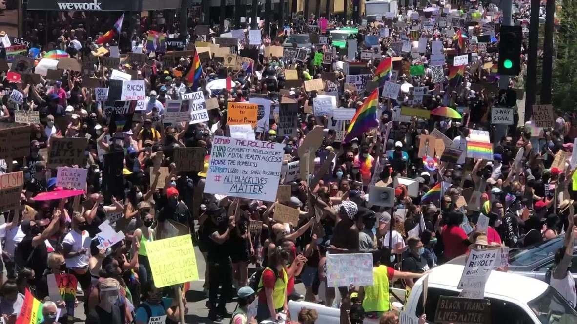 EE.UU.: Activistas LGBT marchan contra el racismo con manifestantes BLM en Los Ángeles
