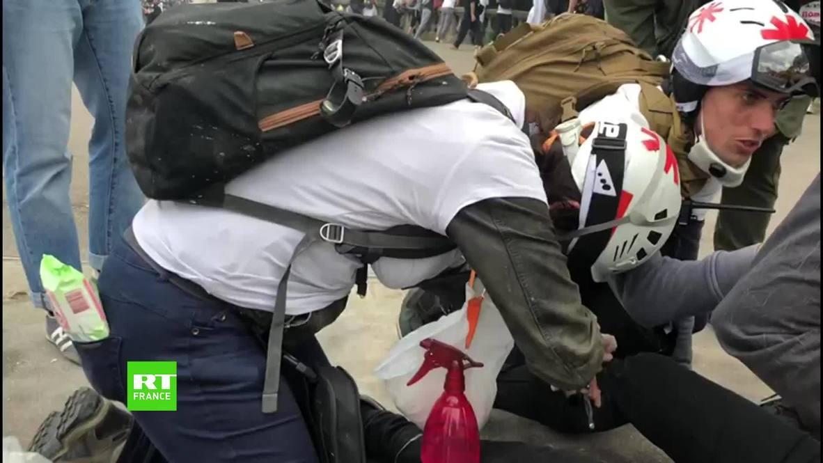 """فرنسا: إصابة اثنين من مصوري """"RT الفرنسية"""" خلال احتجاج العاملين الصحيين في باريس *محتوى من جهة شريكة*"""