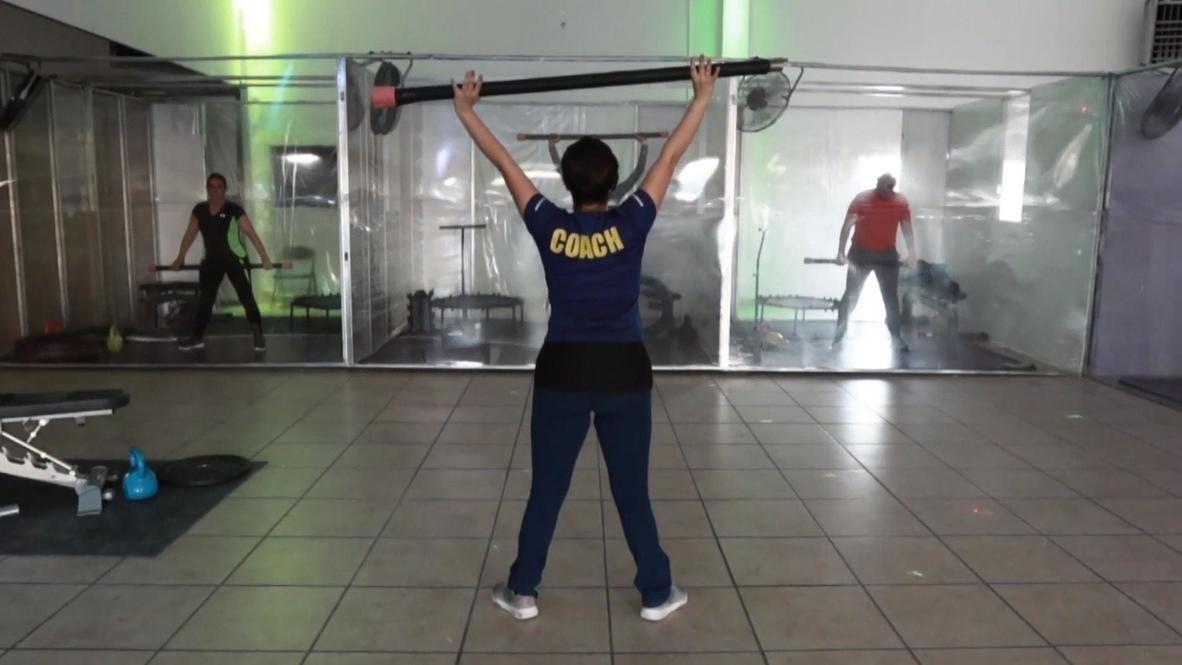 Ciudad Juarez gym 'Covid Fitness' allows virus-proof training inside cubicles