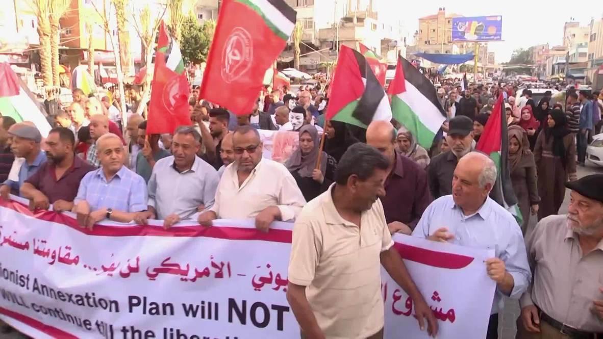 Palestina: Cientos de personas protestan contra el plan de Netanyahu de anexionarse Cisjordania