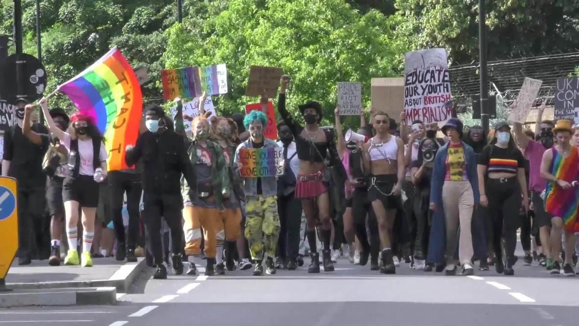 المملكة المتحدة: الآلاف يحتشدون في هايد بارك دعماً لحركات المثليين والمناهضين للعنصرية