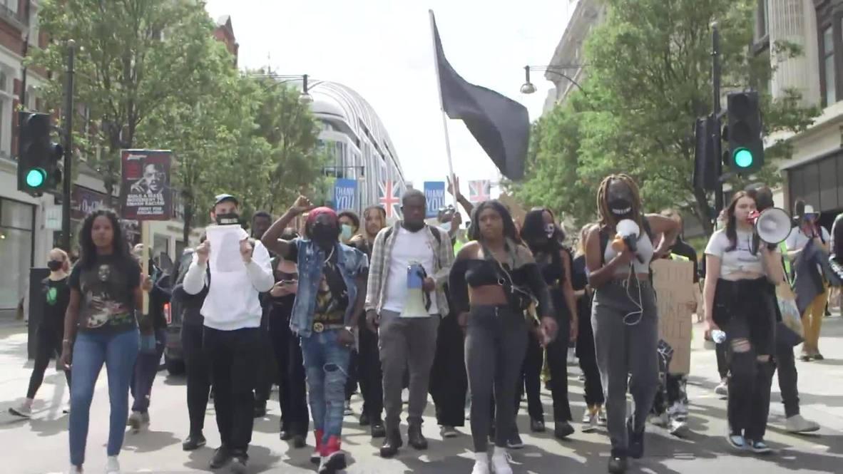 """Reino Unido: Activistas de """"Black Lives Matter"""" marchan por Londres por cuarto fin de semana consecutivo"""