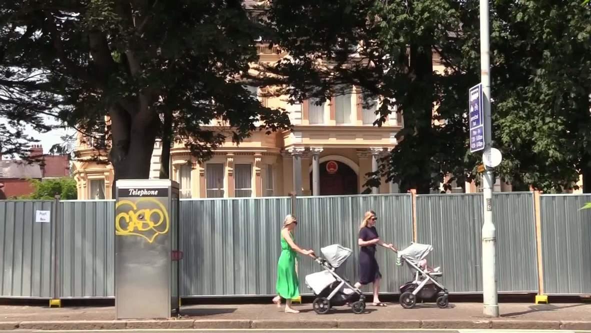 المملكة المتحدة: سكان بلفاست يطلقون حملة لإزالة حاجز حول مبنى القنصلية الصينية