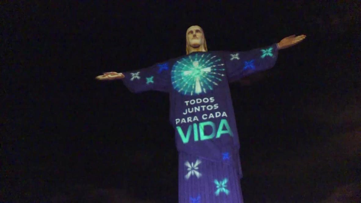 البرازيل: إضاءة تمثال المسيح المخلص بصور ضوئية داعمة في أعقاب انتشار فيروس كورونا