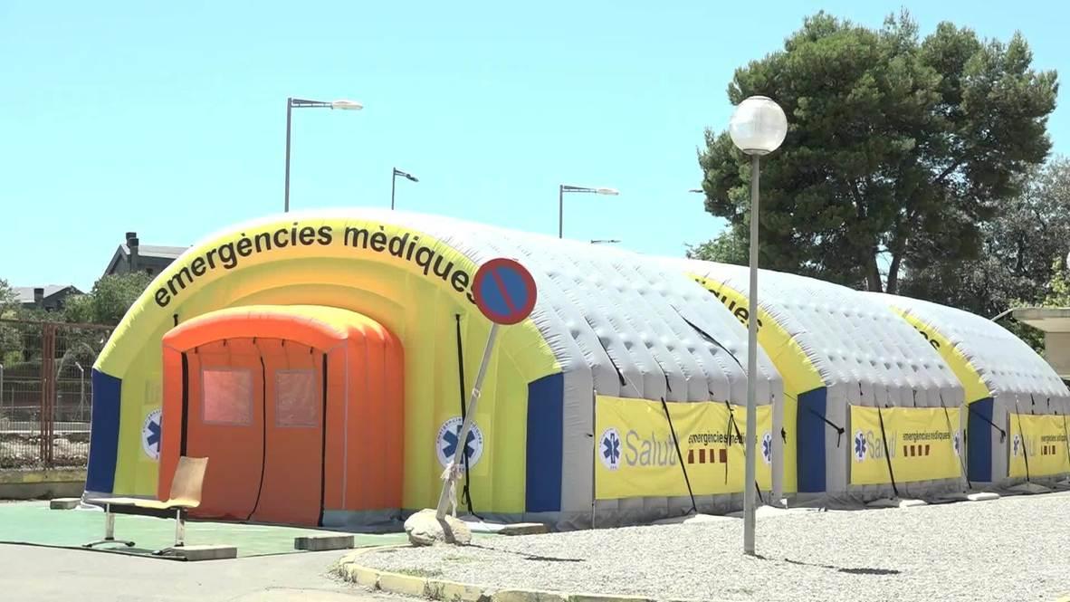 España: Instalan un hospital de campaña en Lleida ante ante el aumento de contagios por covid-19