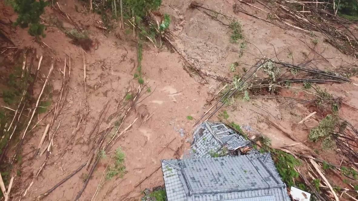 Japón: Imágenes de dron muestran los daños tras el deslizamiento de tierra en Ashikita