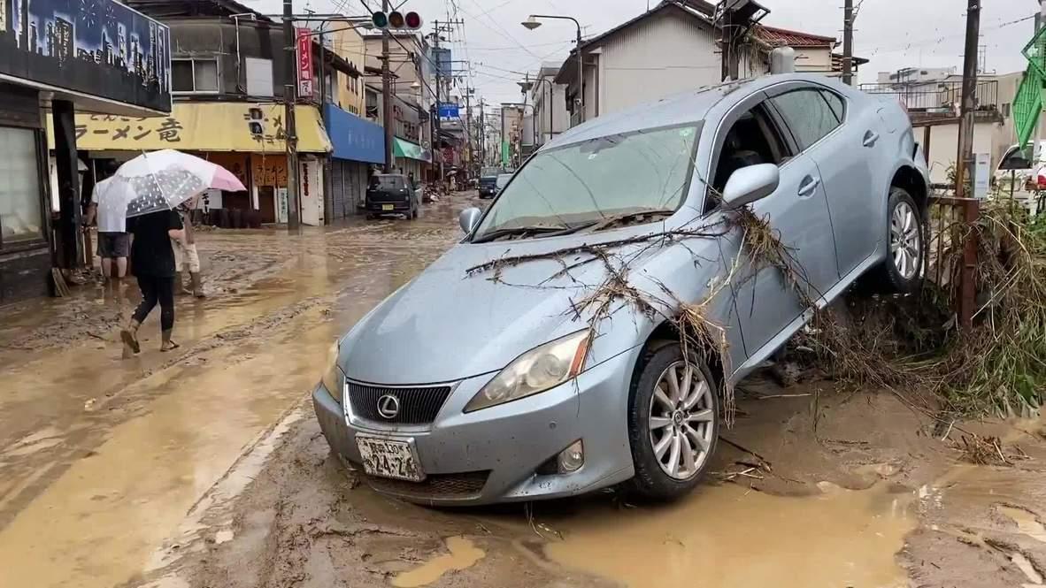 Japón: Fuertes inundaciones provocan destrucción en las calles de la ciudad de Hitoyoshi