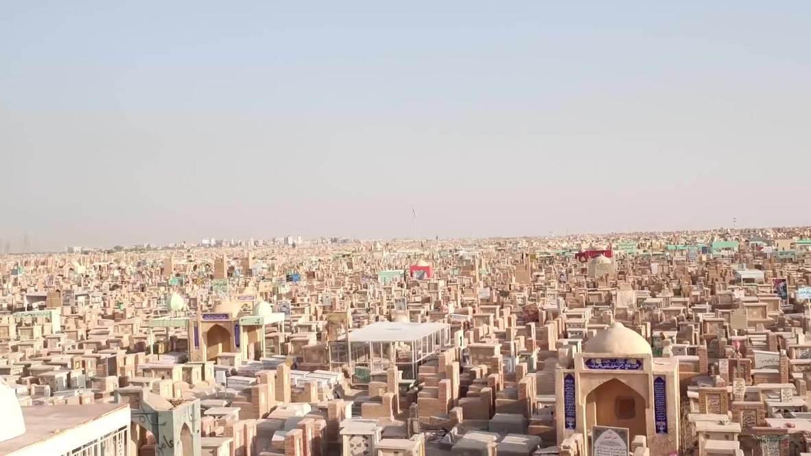 Irak: Imágenes aéreas capturan el mayor cementerio del mundo en Najaf en medio del brote de coronavirus.