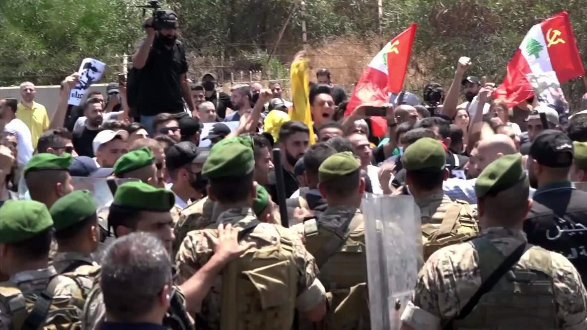 """لبنان: أنصار """"حزب الله"""" يتظاهرون ضد زيارة قائد القيادة المركزية الأمريكية"""