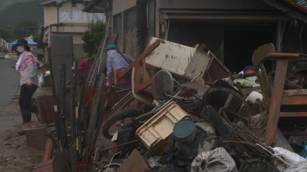 Japón: Residentes de Kuma regresan a sus casas destruidas tras graves inundaciones