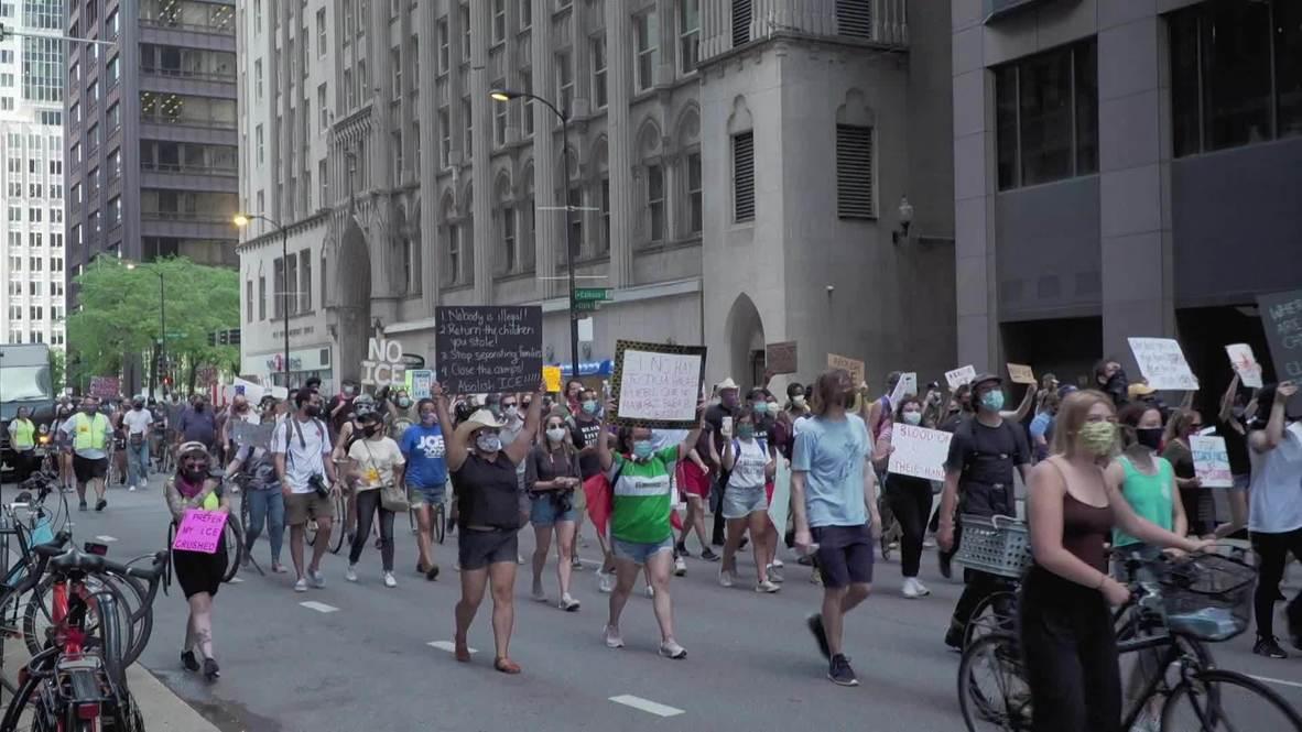 الولايات المتحدة الأمريكية: تظاهرة ضد وكالة الهجرة والجمارك وقواعد الهجرة الجديدة في شيكاغو