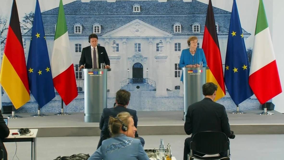 """Alemania: Merkel y Conte piden un fondo de recuperación """"macizo"""" antes de cumbre de la UE"""