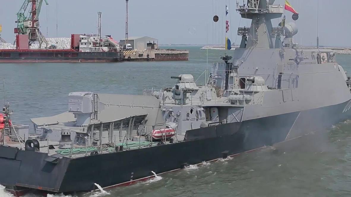 Россия: Малые артиллерийские корабли Каспийской флотилии провели тренировку морского боя