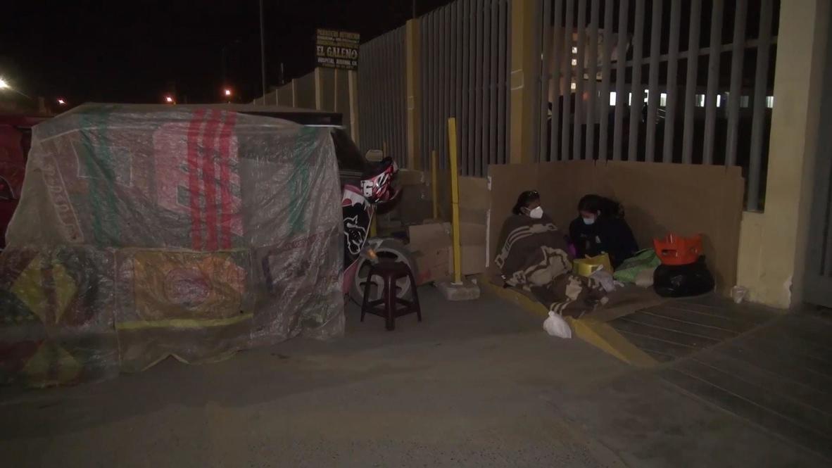 بيرو: أقارب مرضى كوفيد-19 ينامون أمام المستشفيات في انتظار أنباء عن أحبائهم
