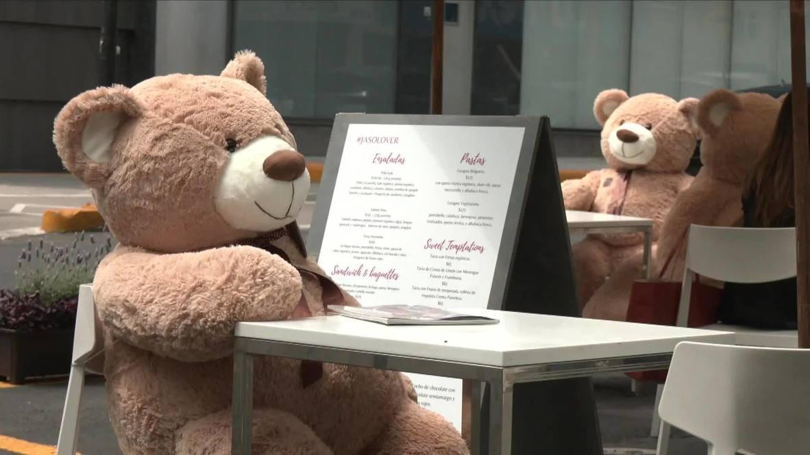 """مقهى في مكسيكو سيتي يستعين بدمية الدب """"تيدي"""" لضمان التباعد الاجتماعي والوقاية من فيروس كورونا"""