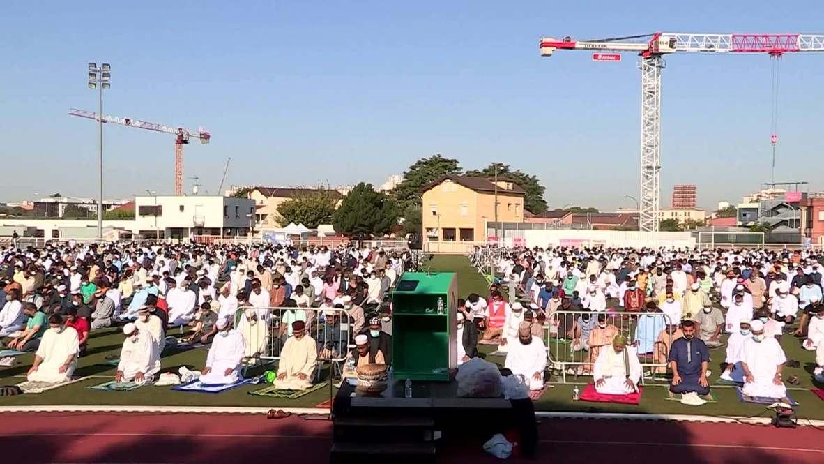 France: Hundreds celebrate Eid al-Adha on football field outside Paris