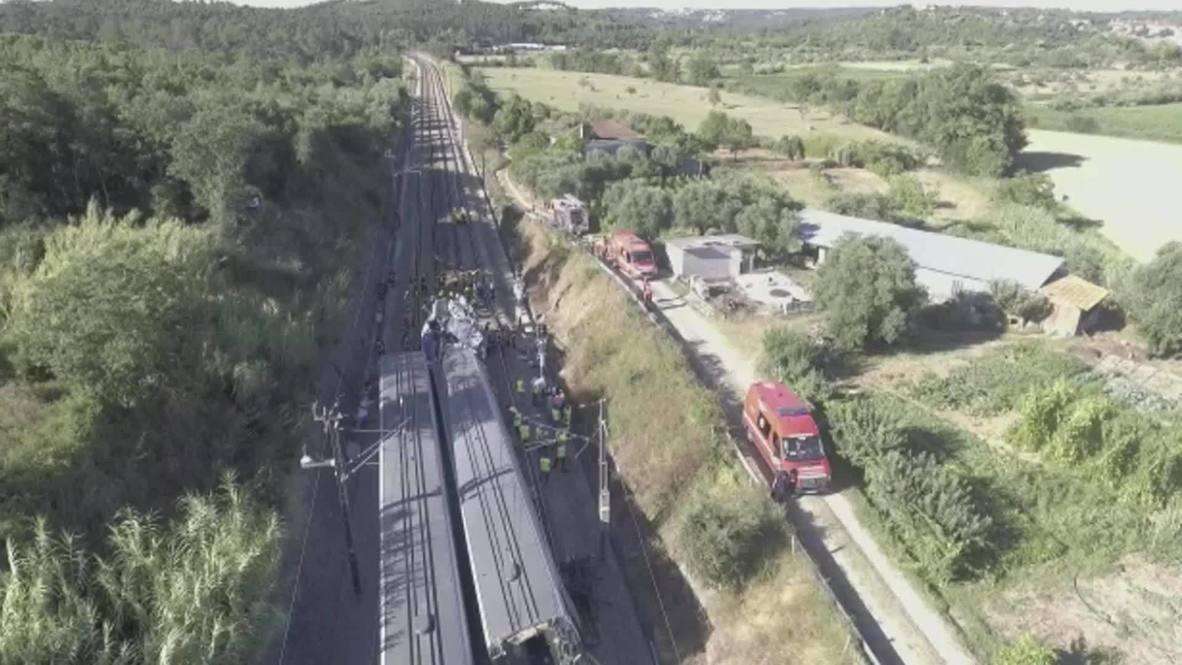 Portugal: Dos muertos y decenas de heridos tras accidente de tren de alta velocidad en Soure *IMÁGENES AÉREAS*